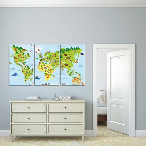 Funny cartoon world map multi panel canvas wall art elephantstock funny cartoon world map multi panel canvas wall art gumiabroncs