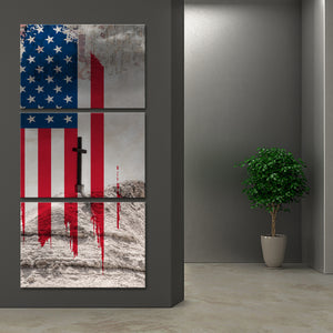 American Flag Cross Multi Panel Canvas Wall Art - America