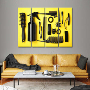 Hair Care Tools Multi Panel Canvas Wall Art - Hair