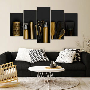 Hairdresser Tools Leather Multi Panel Canvas Wall Art - Hair
