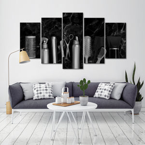 Hairdresser Tools Marble Multi Panel Canvas Wall Art - Hair