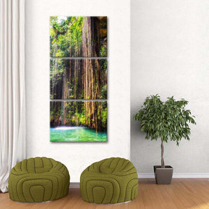 Hanging Roots of Ik-Kil Cenote Multi Panel Canvas Wall Art - Mexico