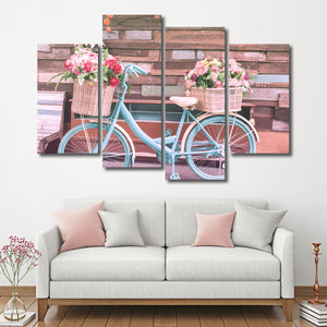 Happy Sunday Multi Panel Canvas Wall Art - Bicycle