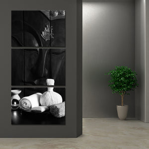 Harmonious Buddha BW Multi Panel Canvas Wall Art - Buddhism
