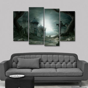 Haunted Cemetery Multi Panel Canvas Wall Art - Gothic