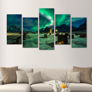 Haunting Aurora Multi Panel Canvas Wall Art - Aurora