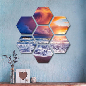 Heaven At Sunset Multi Panel Canvas Wall Art - Beach