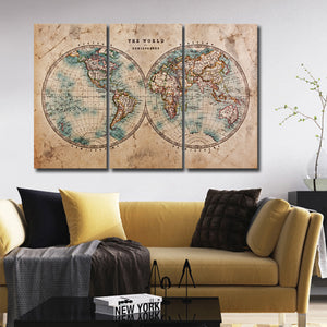 Hemisphere Map Multi Panel Canvas Wall Art - World_map