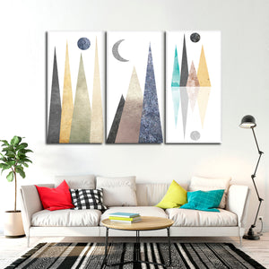 Hipster Mountains Multi Panel Canvas Wall Art - Geometric