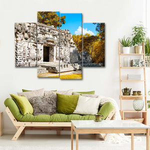 Hochob Mayan Pyramids Multi Panel Canvas Wall Art - Mexico