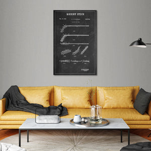 Hockey Stick Patent BW Canvas Wall Art - Hockey