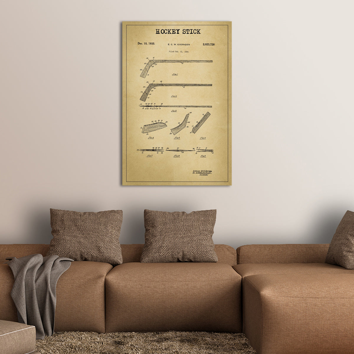 Hockey Stick Patent Canvas Wall Art | ElephantStock
