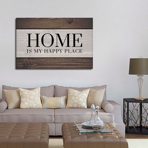 Home Is My Happy Place Canvas Wall Art - Inspiration