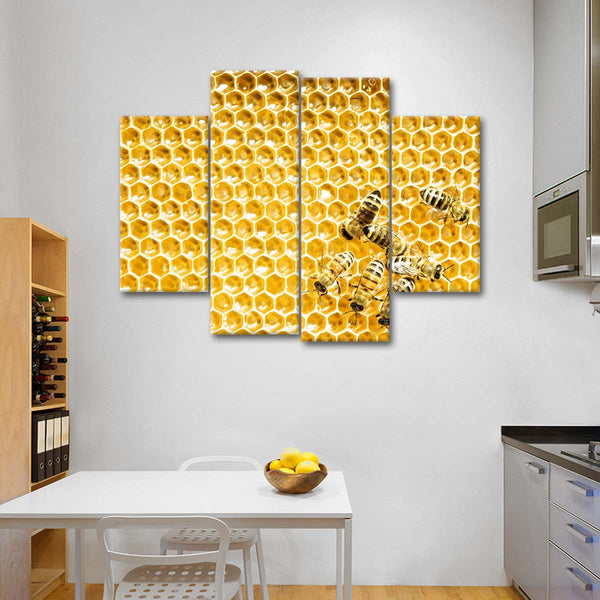 Honey Cells Multi Panel Canvas Wall Art | ElephantStock