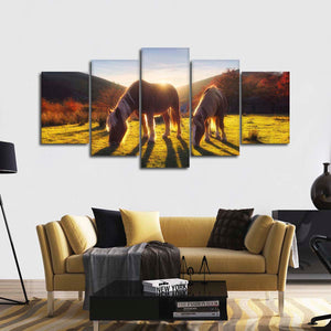 Horses At Dawn Multi Panel Canvas Wall Art - Horse
