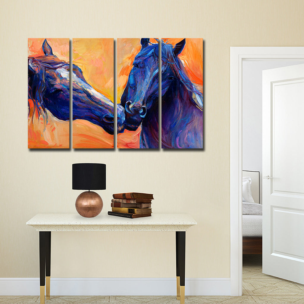 Horses In Love Multi Panel Canvas Wall Art Elephantstock