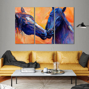 Horses In Love Multi Panel Canvas Wall Art - Horse
