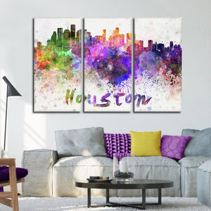 Houston Watercolor Skyline Multi Panel Canvas Wall Art - City