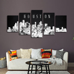 Houston Watercolor Skyline BW Multi Panel Canvas Wall Art - City