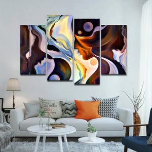 Human Mind Multi Panel Canvas Wall Art - Color