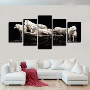 Hungry Like The Wolves Multi Panel Canvas Wall Art - Wolf