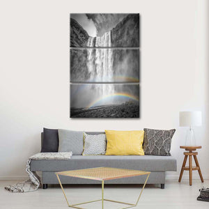 Iceland Double Rainbow Multi Panel Canvas Wall Art - Nature