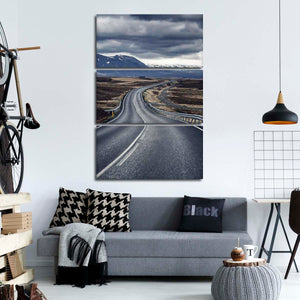 Iceland Smooth Road Multi Panel Canvas Wall Art - Nature