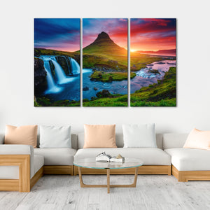 Iceland Volcano Multi Panel Canvas Wall Art - Nature