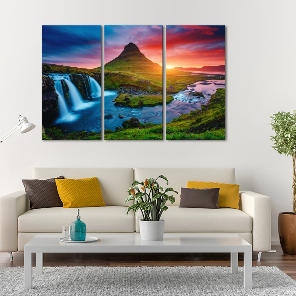 iceland volcano multi panel canvas wall art elephantstock. Black Bedroom Furniture Sets. Home Design Ideas