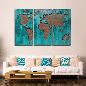 Impression World Map Multi Panel Canvas Wall Art - World_map