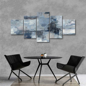 In the Clouds Indigo and Gray Crop Multi Panel Canvas Wall Art - Abstract