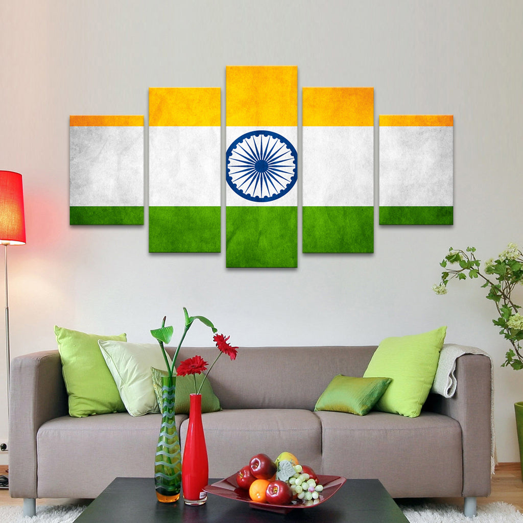 indian flag multi panel canvas wall art elephantstock. Black Bedroom Furniture Sets. Home Design Ideas