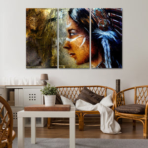 Indian Painting Multi Panel Canvas Wall Art - Native_american