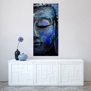 Indigo Tides Of Tranquility Multi Panel Canvas Wall Art - Buddhism
