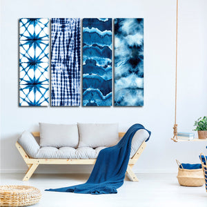 Indigo Tie Dye Combo Canvas Set Wall Art - Abstract