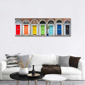 Ireland Rainbow Doors Multi Panel Canvas Wall Art - Architecture