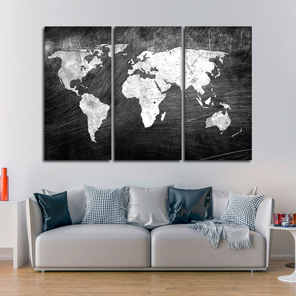 Iron impression world map multi panel canvas wall art elephantstock gumiabroncs Image collections