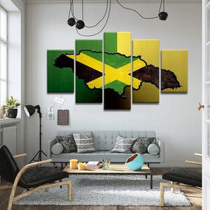Jamaican Island Flag Multi Panel Canvas Wall Art