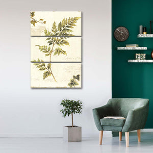 Ivies and Ferns III no Dragonfly Multi Panel Canvas Wall Art - Botanical