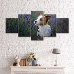 Jack Russell In Lavender Multi Panel Canvas Wall Art - Dog