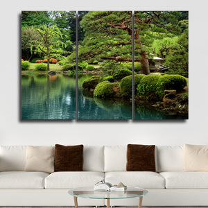 Japanese Garden Multi Panel Canvas Wall Art - Nature