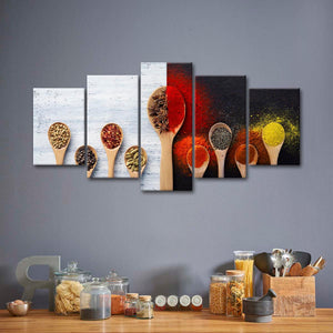 Flavorful Spices Multi Panel Canvas Wall Art - Kitchen