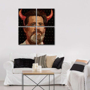 Jim Carrey Beard Illustration Multi Panel Canvas Wall Art - Public_figures