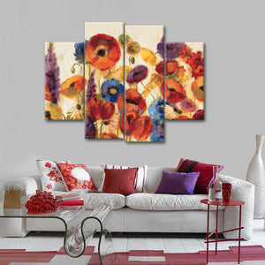 Joyful Garden Multi Panel Canvas Wall Art - Flower