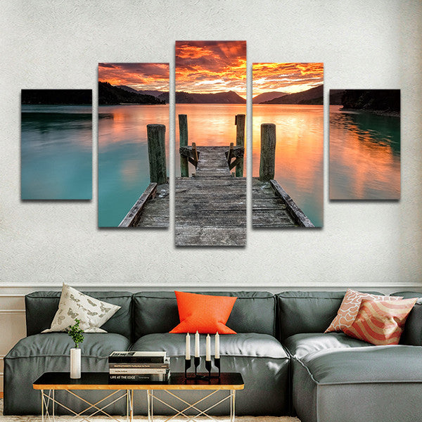 Charming Jump In The Lake Multi Panel Canvas Wall Art
