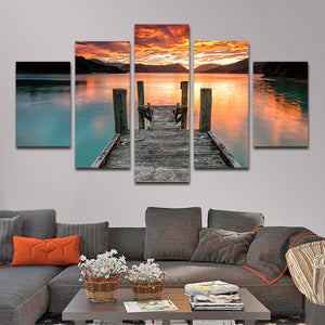 Jump In The Lake Multi Panel Canvas Wall Art - Beach
