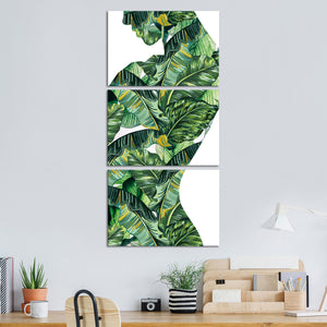 Jungle Woman Multi Panel Canvas Wall Art - Botanical
