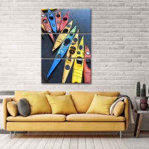 Kayak Boats Multi Panel Canvas Wall Art - Kayak
