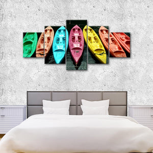 Kayaks In Color Multi Panel Canvas Wall Art - Kayak