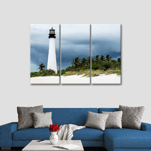 Key Biscayne Lighthouse Multi Panel Canvas Wall Art - Lighthouse